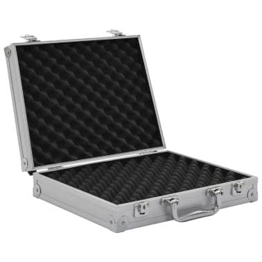 vidaXL Kovček za pištolo aluminij in ABS srebrn[5/7]