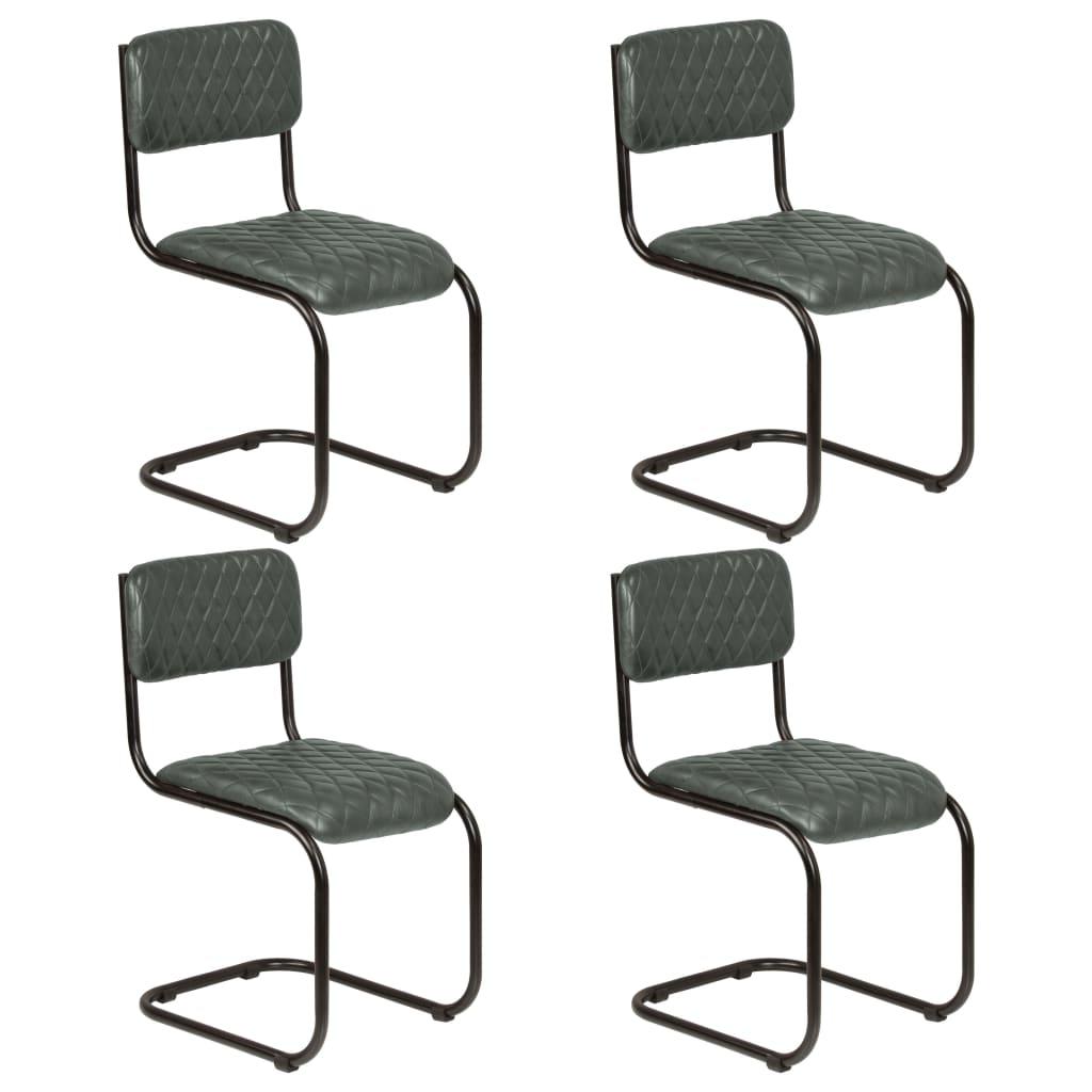 vidaXL Καρέκλες Τραπεζαρίας 4 τεμ. Γκρι από Γνήσιο Δέρμα