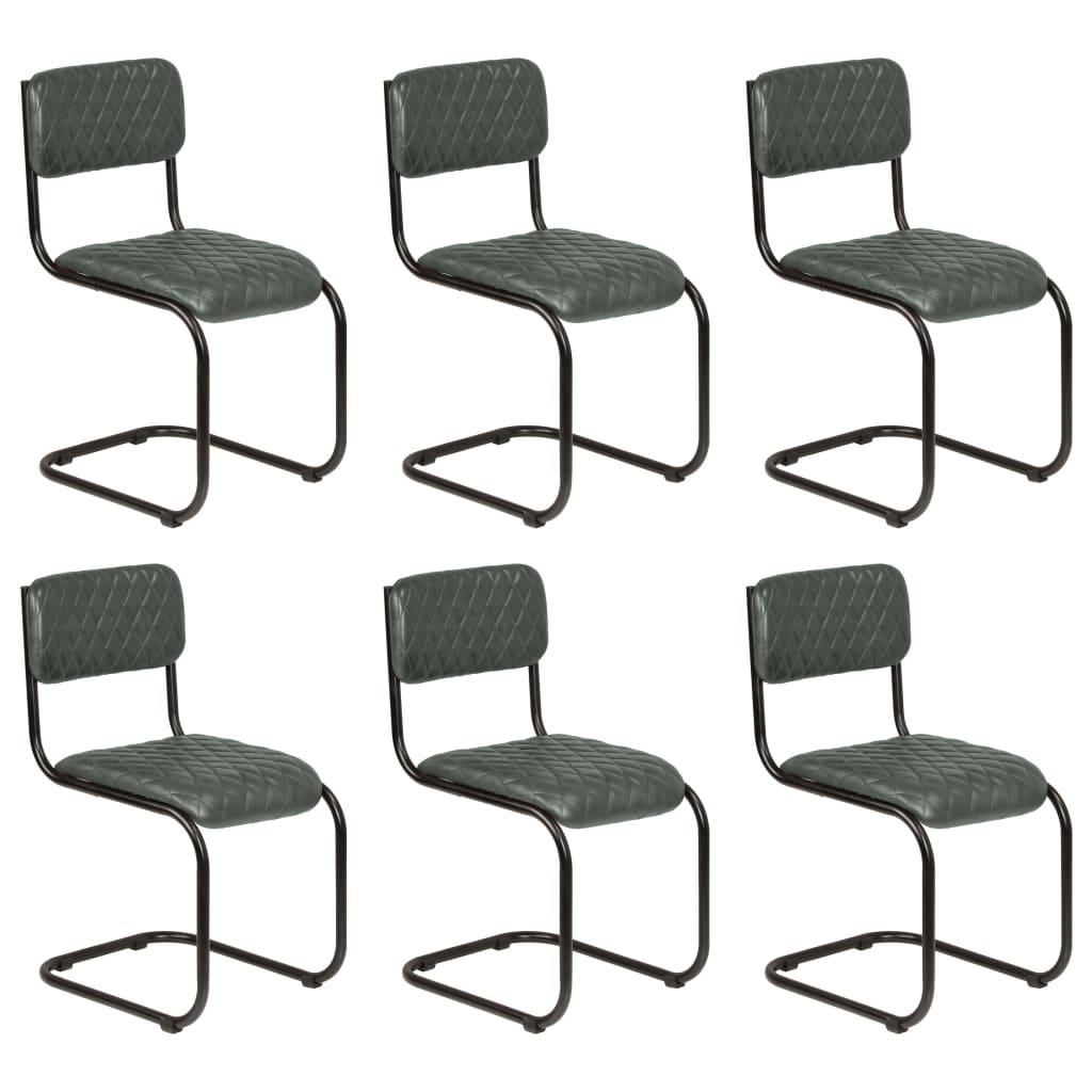 vidaXL Καρέκλες Τραπεζαρίας 6 τεμ. Γκρι από Γνήσιο Δέρμα