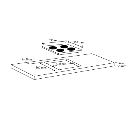 vidaXL Inductiekookplaat 4 kookzones aanraakbediening flexzone 7000 W[4/5]