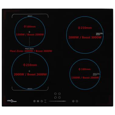 vidaXL Inductiekookplaat 4 kookzones aanraakbediening flexzone 7000 W[2/5]