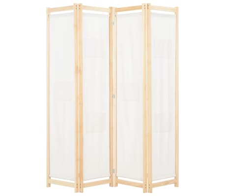 vidaXL 4-Panel Room Divider Cream 160x170x4 cm Fabric