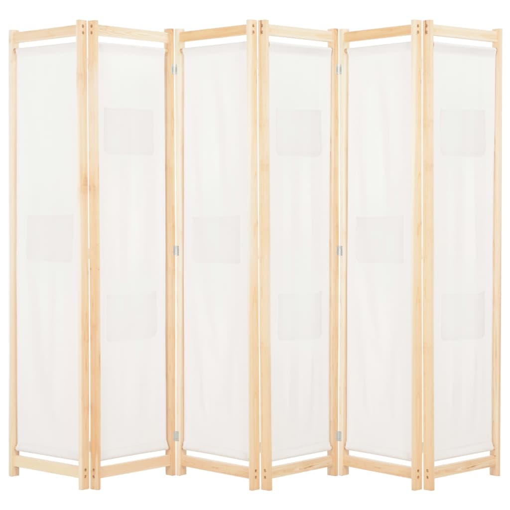 vidaXL Paravan cameră, 6 panouri, crem, 240x170 x4 cm, material textil vidaxl.ro