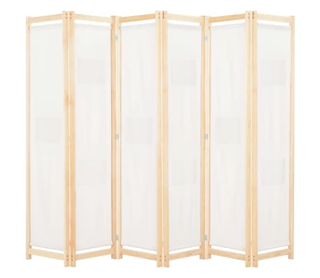 vidaXL 6-Panel Room Divider Cream 240x170x4 cm Fabric