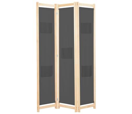 vidaXL Paravan de cameră cu 3 panouri, gri, 120x170x4 cm, textil