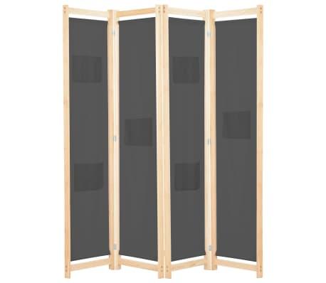 vidaXL Divisória de quarto com 4 painéis 160x170x4 cm tecido cinzento