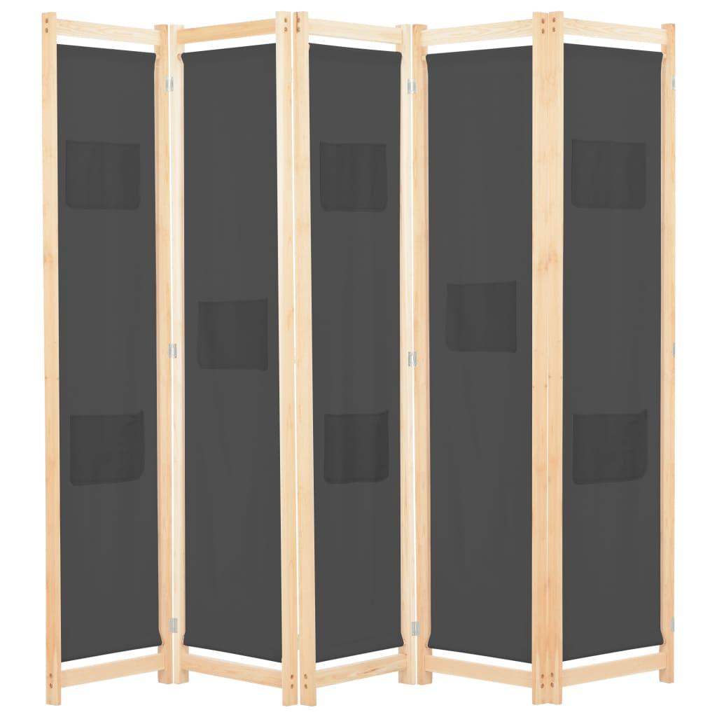 vidaXL Paravan cameră, 5 panouri, gri, 200x170x4 cm, material textil vidaxl.ro