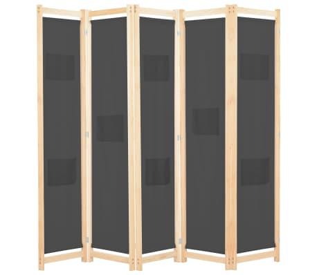vidaXL Paravan cameră, 5 panouri, gri, 200x170x4 cm, material textil