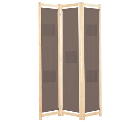 vidaXL Paravan de cameră cu 3 panouri, maro, 120x170x4 cm, textil
