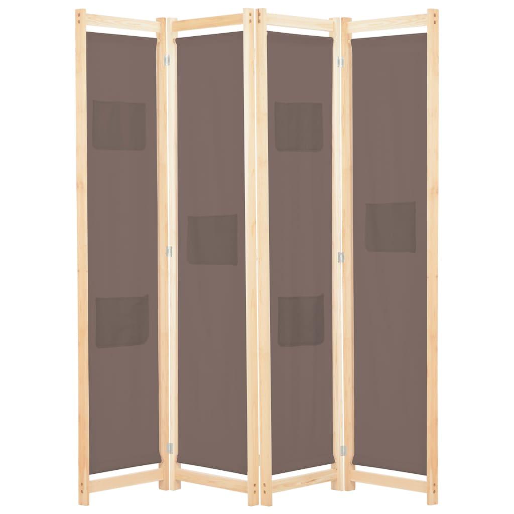 vidaXL Paravan de cameră cu 4 panouri, maro, 160x170x4 cm, textil vidaxl.ro