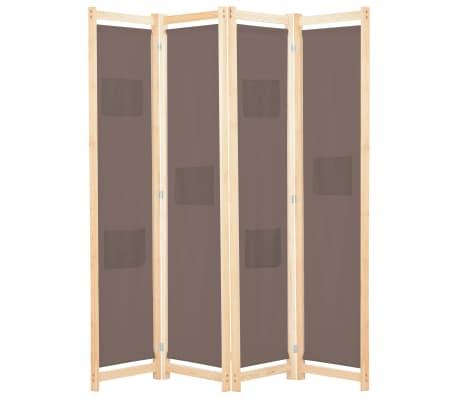 vidaXL Paravan de cameră cu 4 panouri, maro, 160x170x4 cm, textil