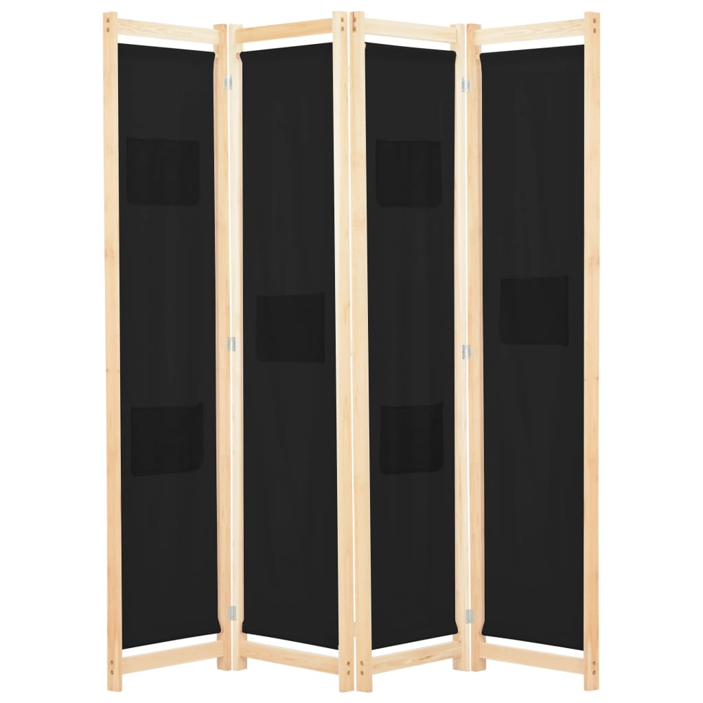 4dílný paraván černý 160 x 170 x 4 cm textil