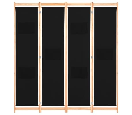 vidaXL Kambario pertvara, 4 d., juodos sp., 160x170x4cm, audinys[2/8]
