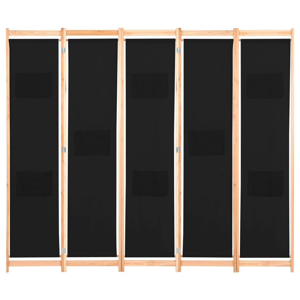 Kamerscherm met 5 panelen 200x170x4 cm stof zwart