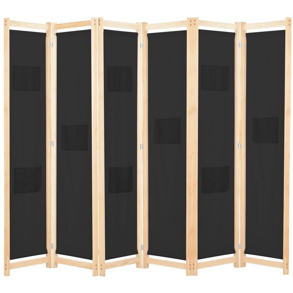 6dílný paraván černý 240 x 170 x 4 cm textil
