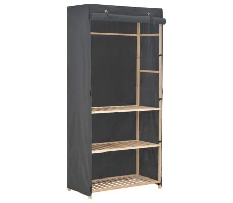 vidaXL Garderob 3 nivåer 79x40x170 cm grå tyg