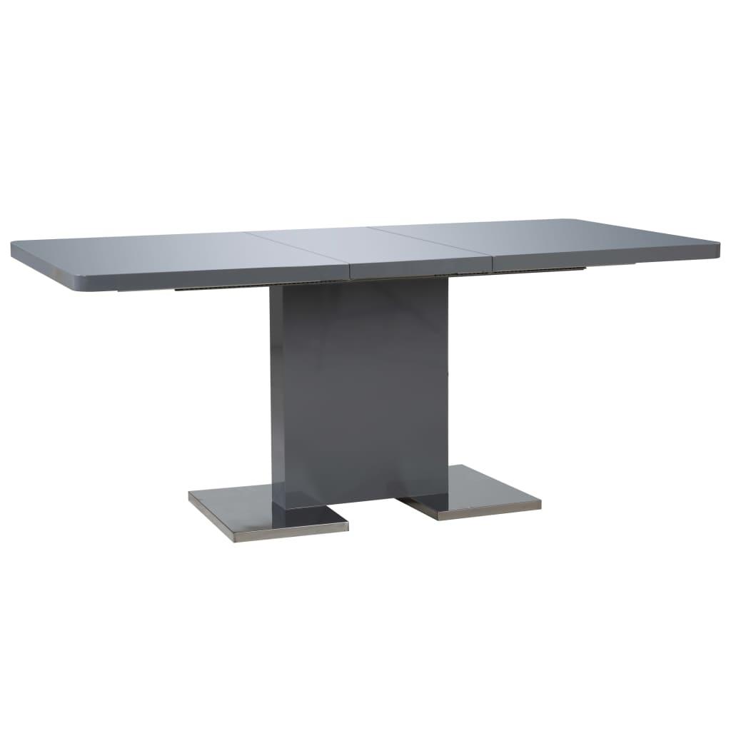 vidaXL Rozkładany stół jadalniany, wysoki połysk, szary, 180x90x76 cm