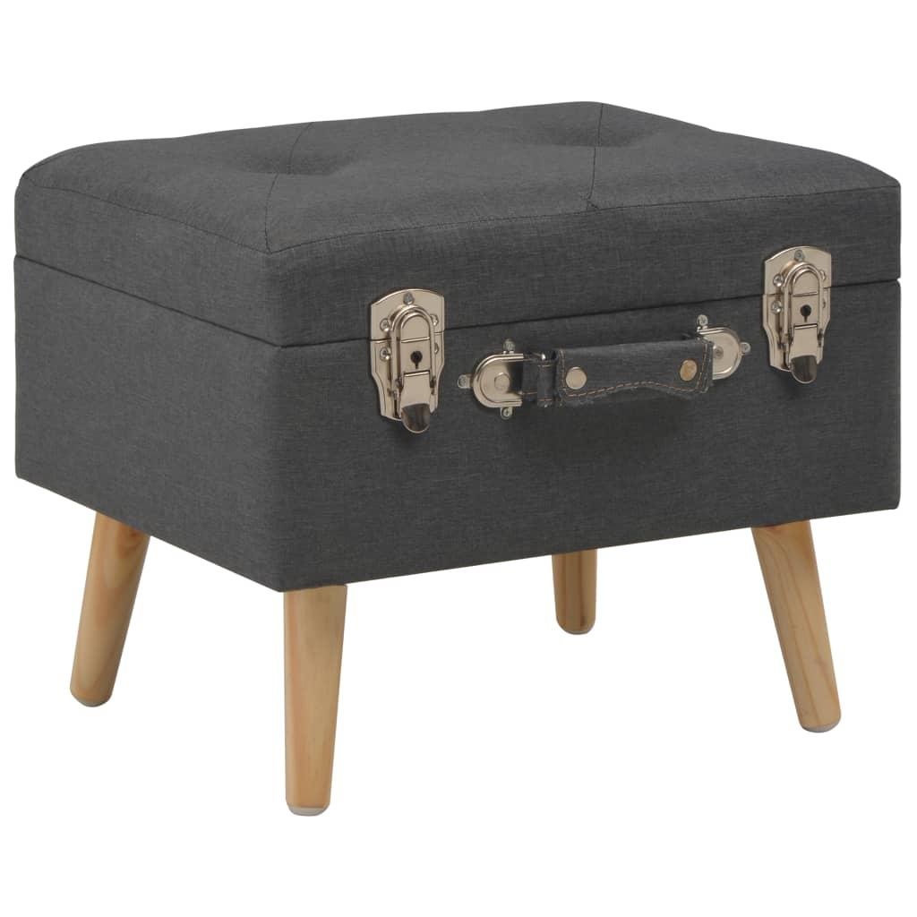 vidaXL Stolička s úložným prostorem 40 cm tmavě šedá textil