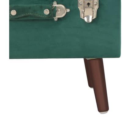 vidaXL Daiktadėžė-taburetė, žalios spalvos, 40cm, aksomas[8/9]