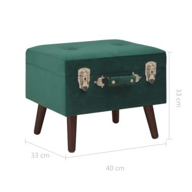 vidaXL Daiktadėžė-taburetė, žalios spalvos, 40cm, aksomas[9/9]