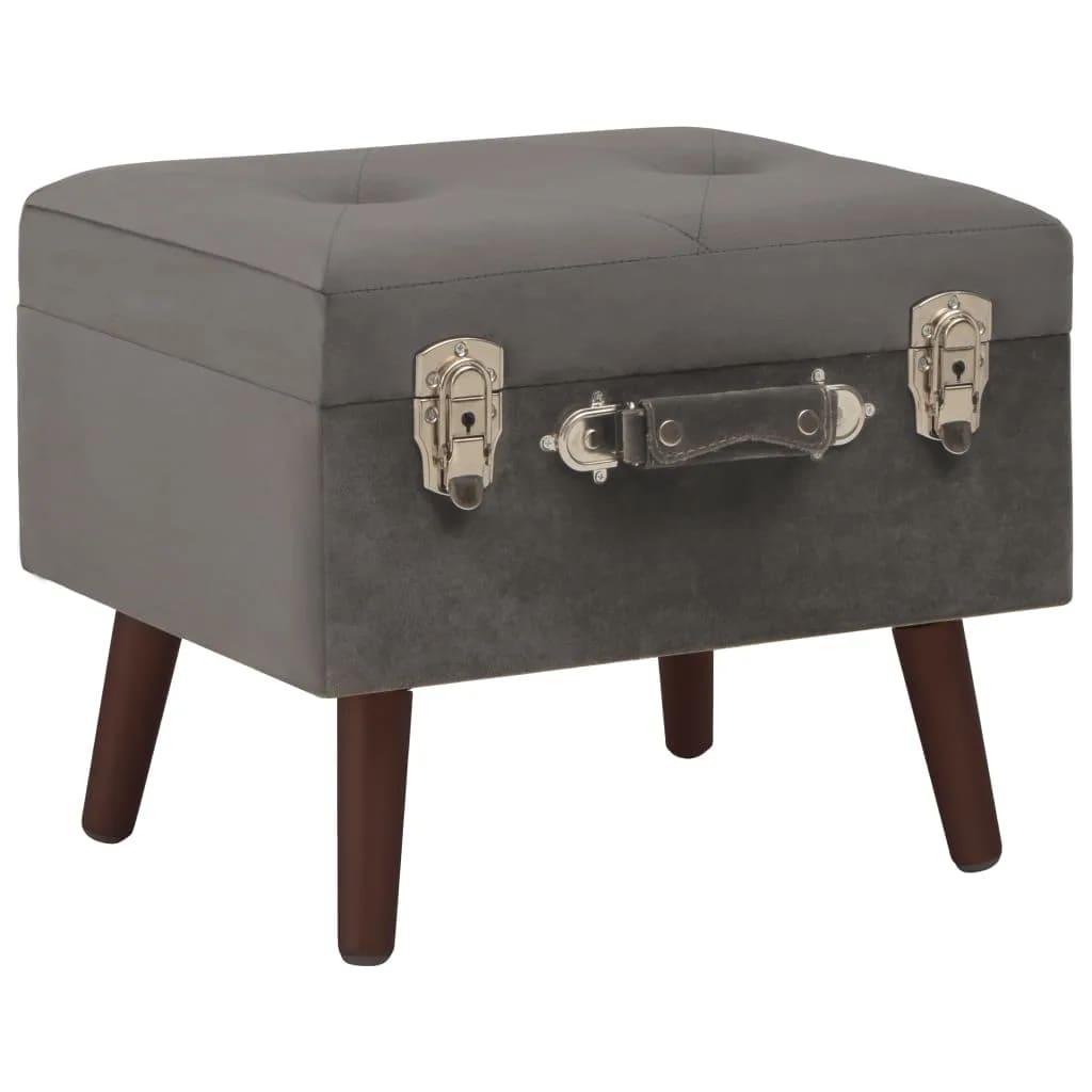vidaXL Stolička s úložným prostorem 40 cm šedá sametová