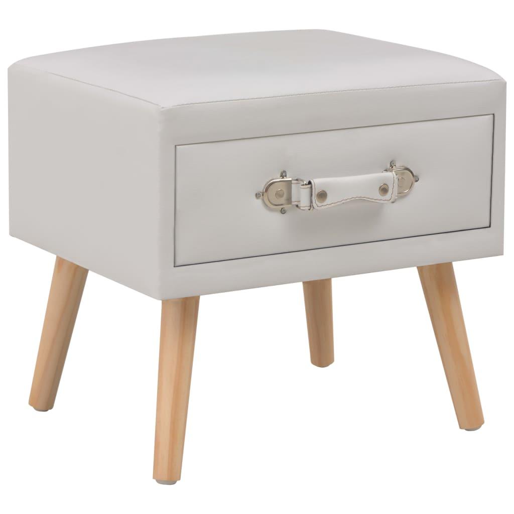 vidaXL Noční stolek bílý 40 x 35 x 40 cm umělá kůže