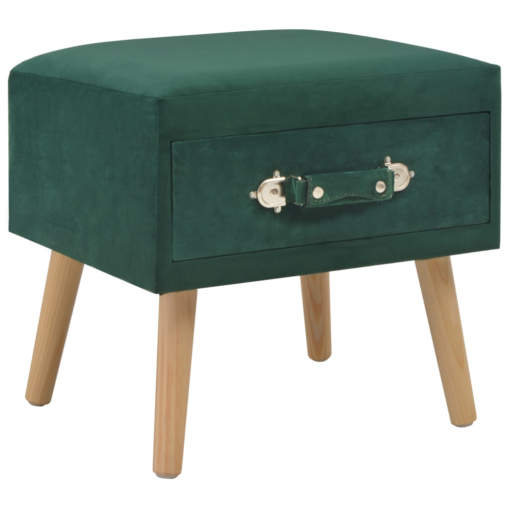 vidaXL Noční stolek zelený 40 x 35 x 40 cm samet