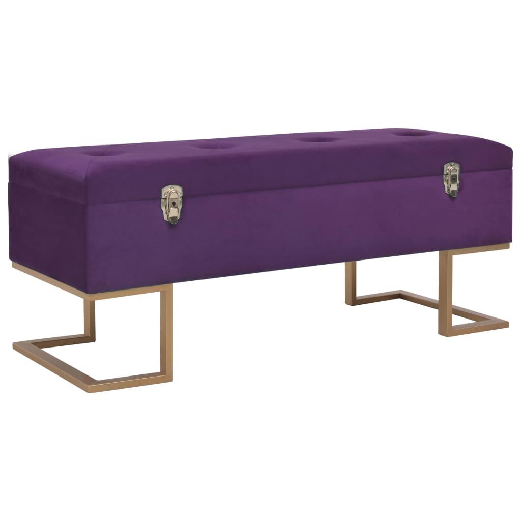 vidaXL Banchetă cu un compartiment de depozitare violet 105cm catifea vidaxl.ro