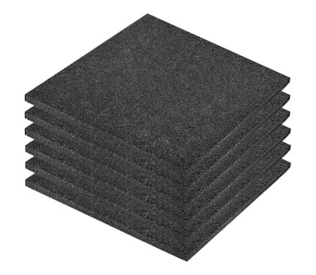 vidaXL Plytelės apsaug. nuo kritimų, 6vnt., juodos, 50x50x3cm, guma