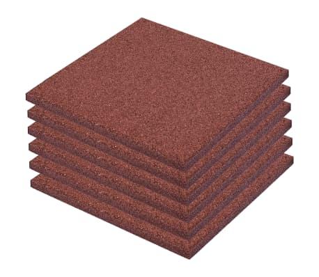 vidaXL Plytelės apsaug. nuo kritimų, 6vnt., raudonos, 50x50x3cm, guma[2/6]