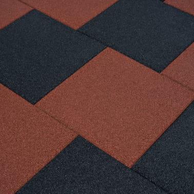 vidaXL Plytelės apsaug. nuo kritimų, 6vnt., raudonos, 50x50x3cm, guma[1/6]