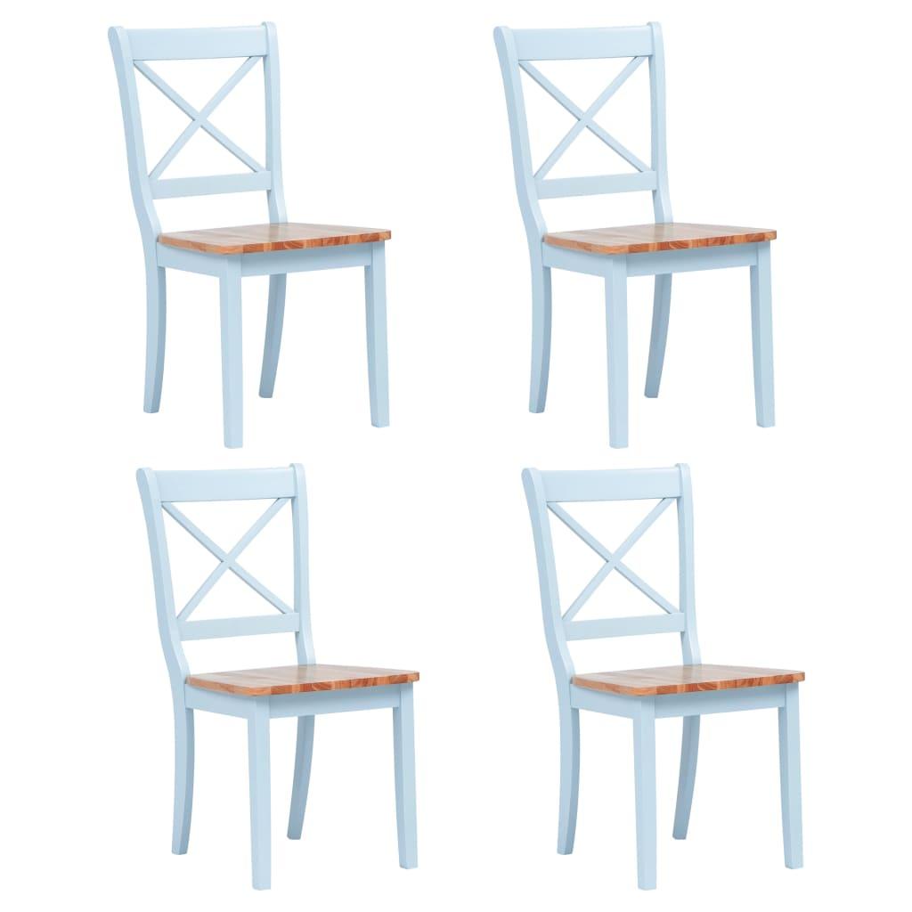 vidaXL Καρέκλες Τραπεζαρίας 4 τεμ. Γκρι / Καφέ Ξύλο Καουτσουκόδεντρου
