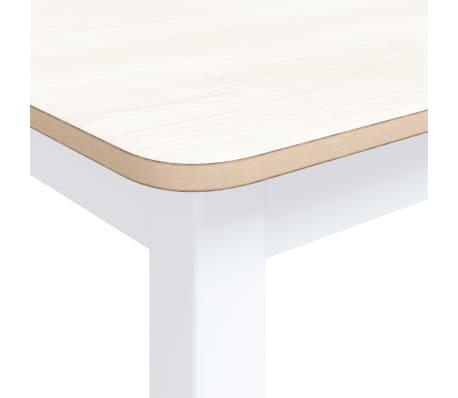 vidaXL Eettafel 114x71x75 cm massief rubberwood wit en bruin[4/6]