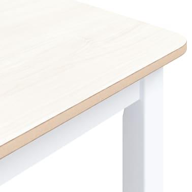 vidaXL Eettafel 114x71x75 cm massief rubberwood wit en bruin[5/6]