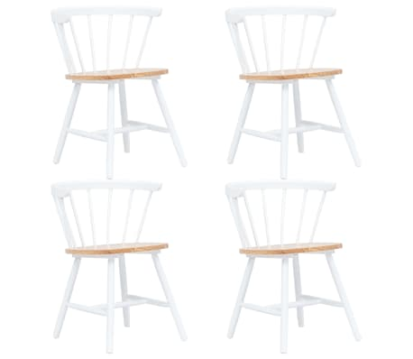 vidaXL Dining Chairs 4 pcs White and Light Wood Solid Rubber Wood