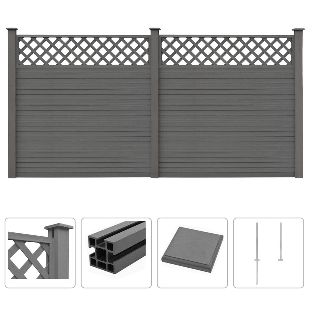 vidaXL Gard de grădină cu zăbrele, gri, 357 x 185 cm, WPC vidaxl.ro