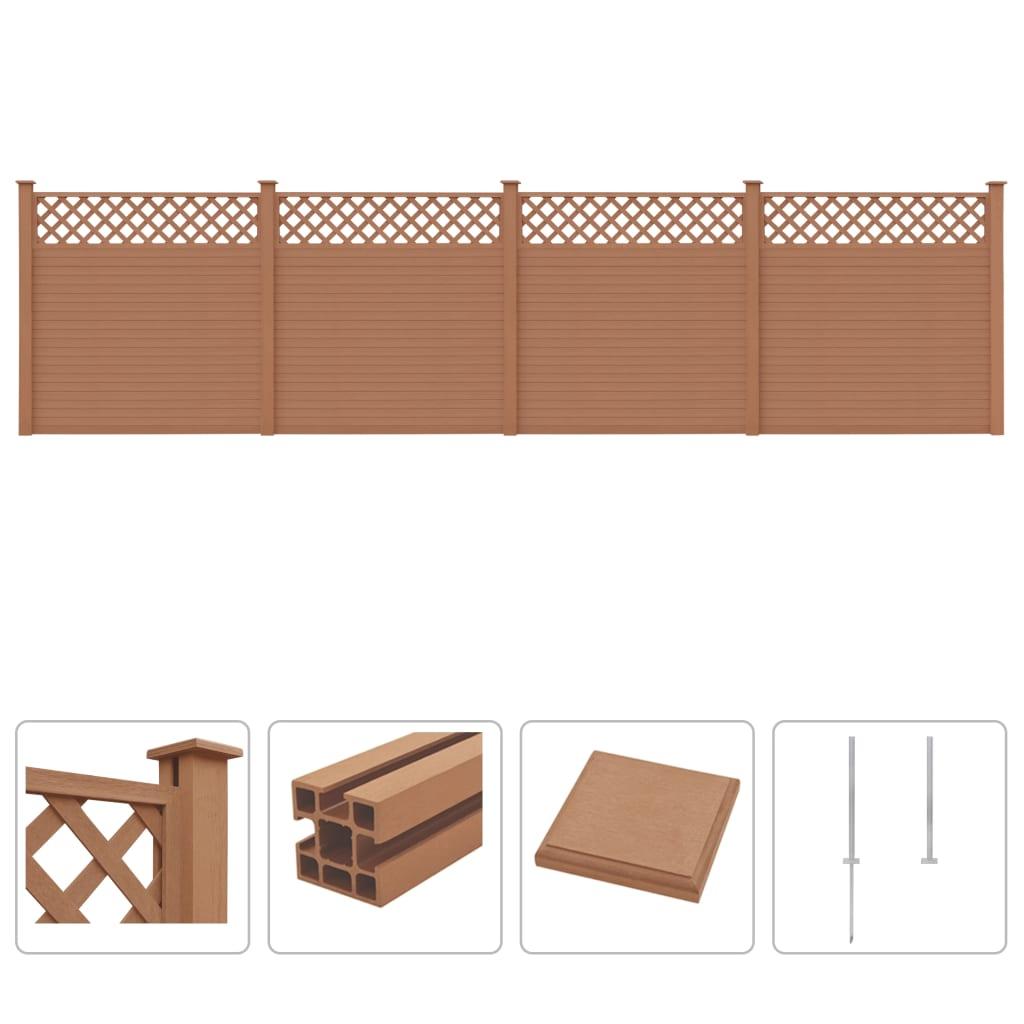 vidaXL WPC plotová sada s treláží 4 ks čtvercová 705 x 185 cm hnědá