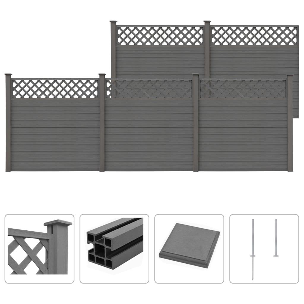 vidaXL Gard de grădină cu zăbrele, gri, 879 x 185 cm, WPC poza 2021 vidaXL
