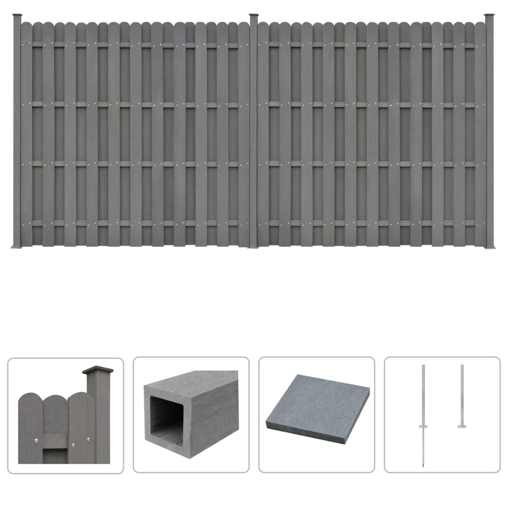 vidaXL Set panouri de gard, 2 buc., pătrat, gri, 376 x 185 cm, WPC vidaxl.ro