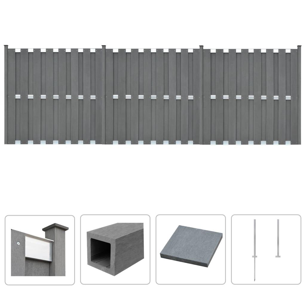 vidaXL Plotová sada z WPC 3 ks čtvercová 562 x 185 cm šedá