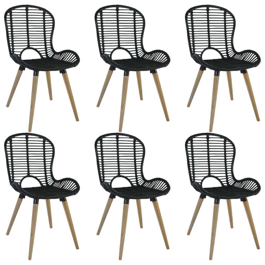 vidaXL Zahradní jídelní židle 6 ks přírodní ratan 48x64x85 cm černé