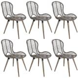 vidaXL Dining Chairs 6 pcs Brown Natural Rattan