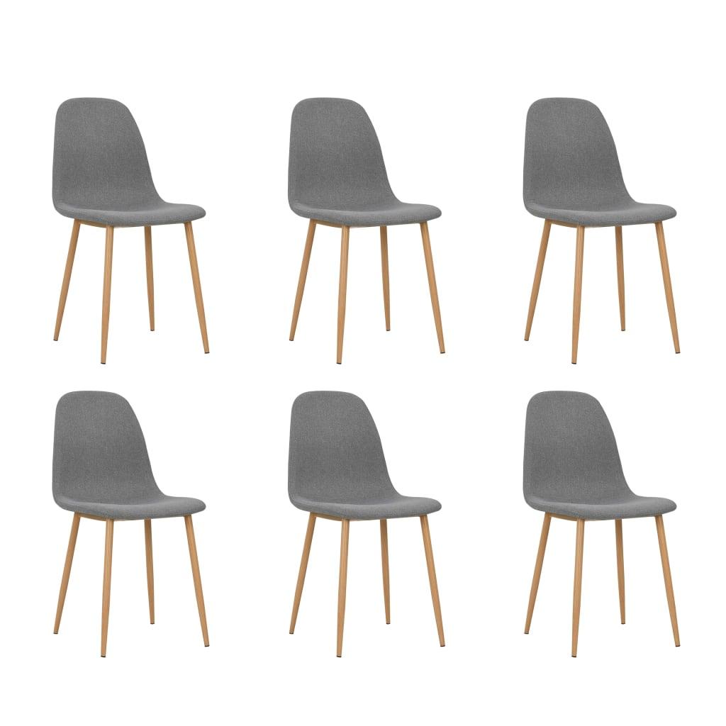 vidaXL Καρέκλες Τραπεζαρίας 6 τεμ Ανοιχτό Γκρι 45x55x85 εκ Ύφασματινες