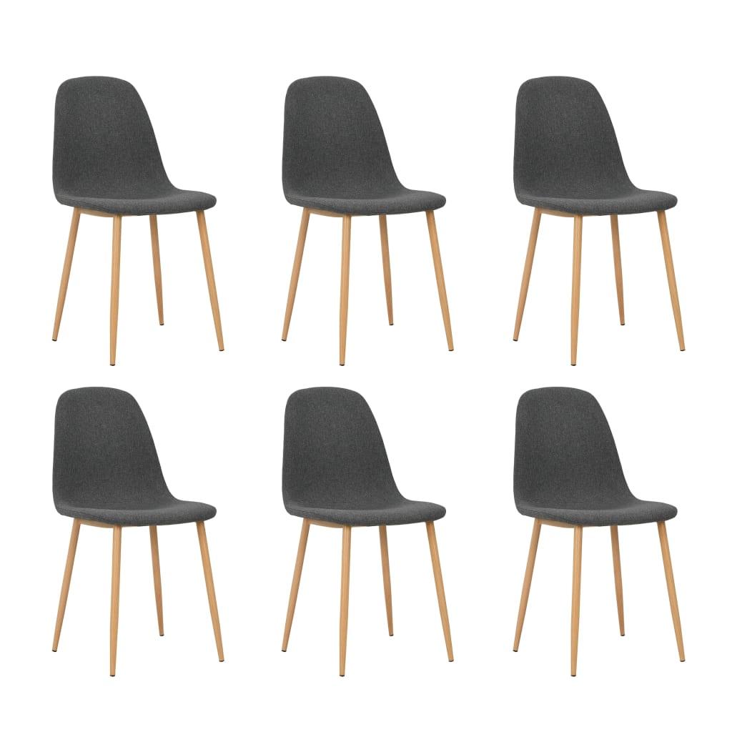 vidaXL Καρέκλες Τραπεζαρίας 6 τεμ Σκούρο Γκρι 45x55x85 εκ. Ύφασματινες