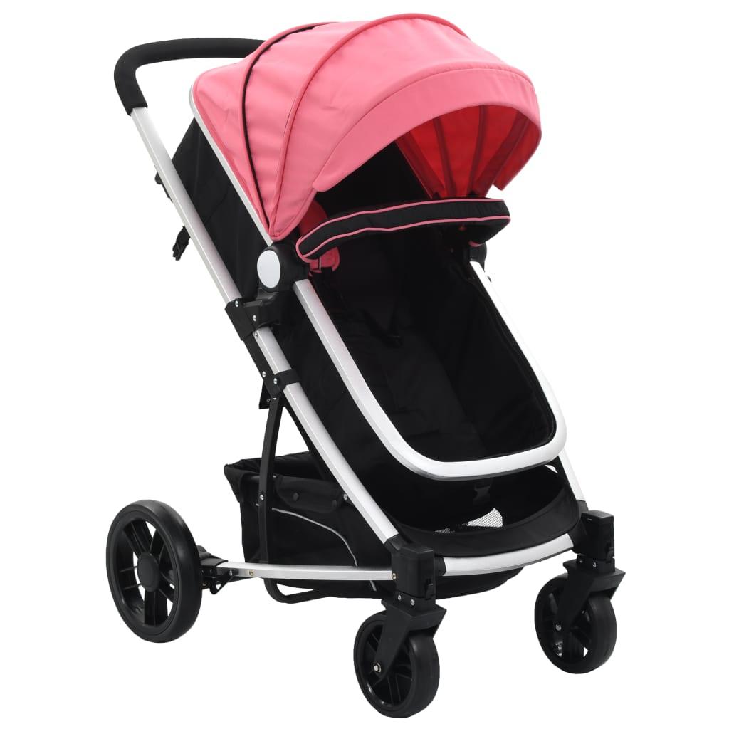 99910153 2-in-1 Buggy/Kinderwagen Rosa und Schwarz Aluminium