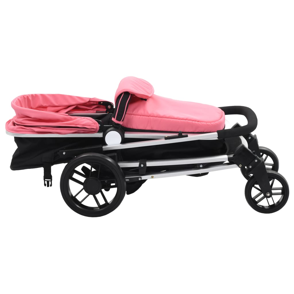 Sportovní/hluboký kočárek 2 v 1 růžovočerný hliník