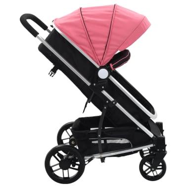 vidaXL Vaik. vežimėlis/neš. lopšys, 2-1, rož. ir juod. sp., alium.[2/9]