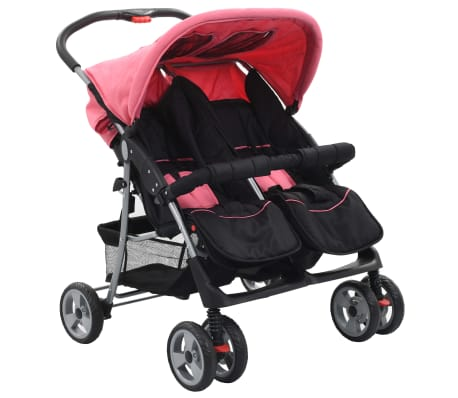 vidaXL Бебешка количка за близнаци, розово и черно, стомана