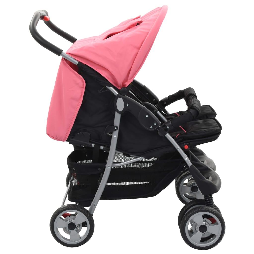 vidaXL Sportovní kočárek pro dvojčata růžovočerný ocel