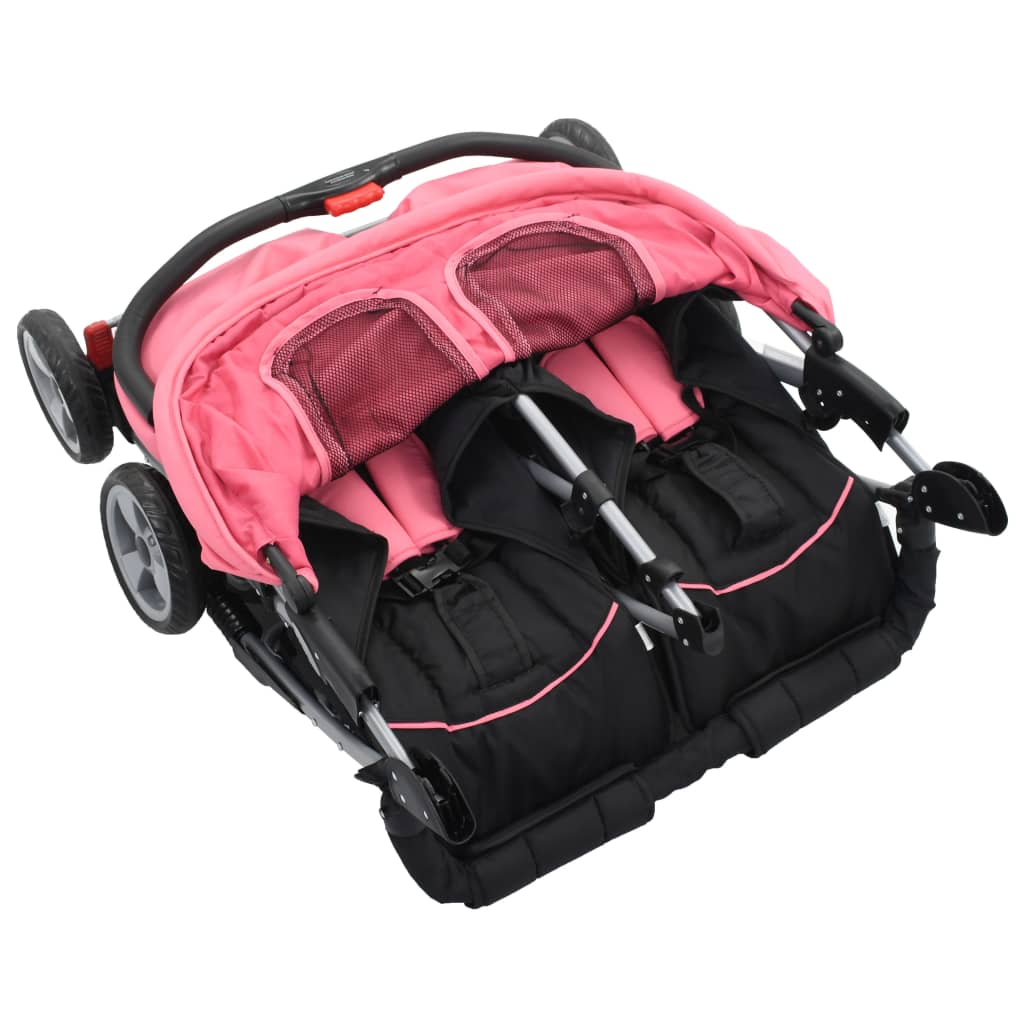 Sportovní kočárek pro dvojčata růžovočerný ocel